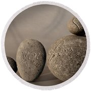 love you forever - An engraved message gives light to a stone heart Round Beach Towel