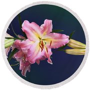 Lovely Pink Lilies Round Beach Towel