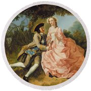 Lovers In A Landscape Round Beach Towel