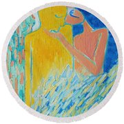 Loving An Angel Round Beach Towel by Ana Maria Edulescu