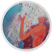 Loving My Angel Round Beach Towel by Ana Maria Edulescu