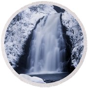 Low Angle View Of A Waterfall, Glenoe Round Beach Towel