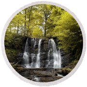 Low Angle View Of A Waterfall In A Round Beach Towel