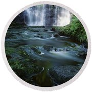 Low Angle View Of A Waterfall Round Beach Towel