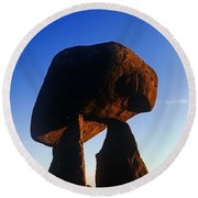 Low Angle View Of Proleek Dolmen Round Beach Towel