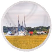 Low County Marsh View Shrimp Boats Round Beach Towel