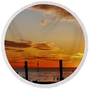 Low Tide At The Lake Round Beach Towel