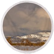 Low Winter Storm Clouds Colorado Rocky Mountain Foothills 2 Round Beach Towel