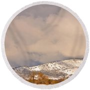 Low Winter Storm Clouds Colorado Rocky Mountain Foothills 4 Round Beach Towel