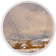 Low Winter Storm Clouds Colorado Rocky Mountain Foothills 5 Round Beach Towel