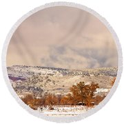 Low Winter Storm Clouds Colorado Rocky Mountain Foothills 6 Round Beach Towel