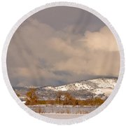 Low Winter Storm Clouds Colorado Rocky Mountain Foothills Round Beach Towel