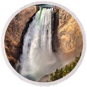 Lower Falls Of Yellowstone Round Beach Towel