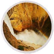 Lower Falls Yellowstone River Round Beach Towel