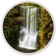 Lower South Falls At Silver Falls Round Beach Towel