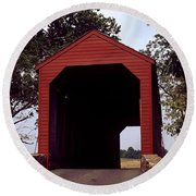 Loy's Station Covered Bridge Round Beach Towel