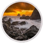 Luffenholtz Winter Sunset 2 Round Beach Towel