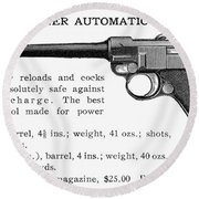 Luger Automatic Pistol Round Beach Towel