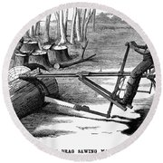 Lumbering: Saw, 1879 Round Beach Towel