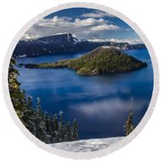 Luminous Crater Lake Round Beach Towel