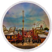 Luna Park-a-rama Round Beach Towel