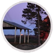 Lunar Eclipse At The Farm Round Beach Towel