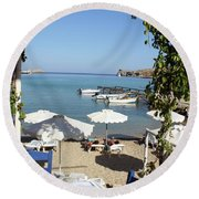 Lunch On The Mediterranean  Round Beach Towel