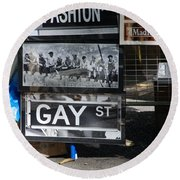 Lunch Time Between Fashion Ave And Gay Street Round Beach Towel by Rob Hans