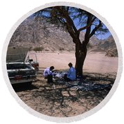 Lunchtime In The Desert Of Sinai Round Beach Towel