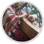Lute Player Round Beach Towel by Photo Researchers, Inc.