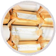 Luxury Christmas Crackers Round Beach Towel