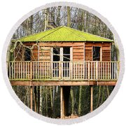 Luxury Tree House In The Woods Round Beach Towel