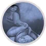 Lydia The Tattooed Mermaid In Cyan Round Beach Towel