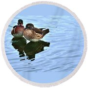 Ma And Pa Wood Duck Round Beach Towel