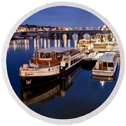 Maastricht Jetty On Maas River Round Beach Towel