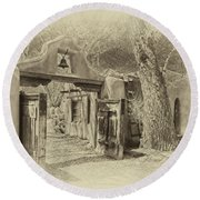 Mabel's Gate As Antique Print Round Beach Towel