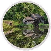 Mabry Mill And Pond With Reflection Round Beach Towel