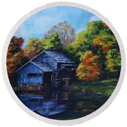 Mabry Mill In Autumn Round Beach Towel