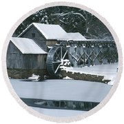 Mabry Mill Winter Round Beach Towel
