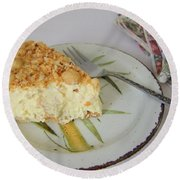 Macadamia Nut Cream Pie Slice Round Beach Towel