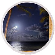 Maceio - Brazil - Ponta Verde Beach Under The Moonlit Round Beach Towel