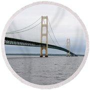 Mackinac Bridge From Water 2 Round Beach Towel