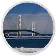Mackinac Bridge In Winter 2 Round Beach Towel