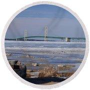 Mackinac Bridge Southwest Round Beach Towel