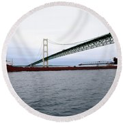 Mackinac Bridge With Ship Round Beach Towel