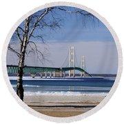 Mackinac Bridge With Trees Round Beach Towel