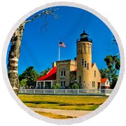 Mackinac Point Light Round Beach Towel