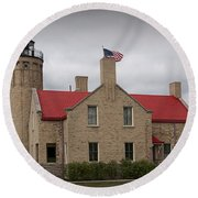 Mackinaw City Lighthouse Number 2446 Round Beach Towel