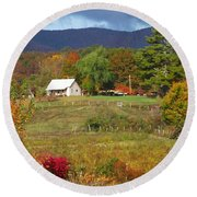 Mack's Farm In The Fall 2 Filtered Round Beach Towel