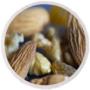 Macro Shots Of Various Dry Fruit Items Such As Almonds And Walnuts And Raisins Round Beach Towel